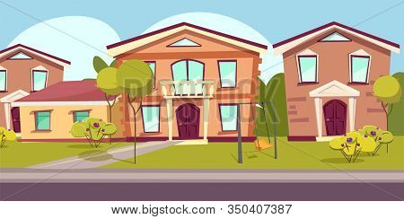 Suburban Neighborhood Flat Vector Illustration. Suburbs Landscape, Empty Street With No People. Scen