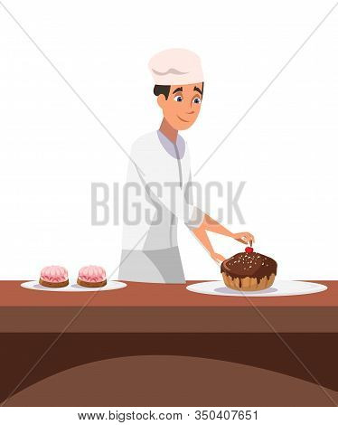 Cakes Making Process Flat Vector Illustration. Cheerful Professional Confectioner In Uniform Cartoon