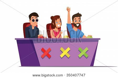 Talent Show Judges Flat Vector Illustration. Celebrities Judging Contestants And Pressing Buttons Is
