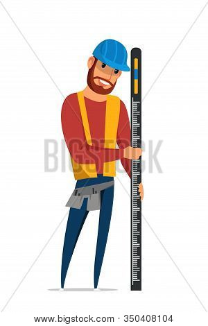Builder With Spirit Level Flat Vector Illustration. Carpenter In Hard Hat, Repairman In Vest Cartoon