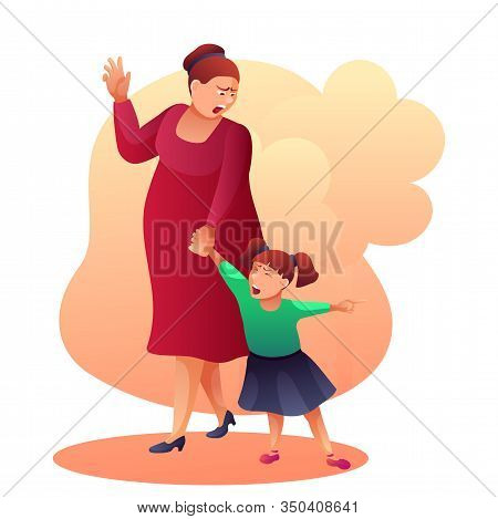 Mother Shouting At Child Flat Vector Illustration. Angry Mom And Crying Daughter Yelling At Each Oth