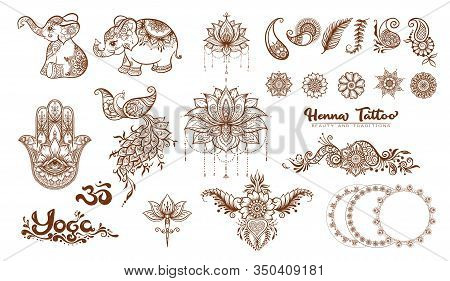 Set Of Elements For Design In Mehendi, Traditional Indian Henna Style. Ethnic Style Compositions. Fl