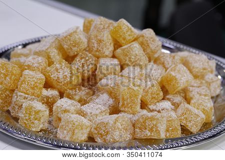 Eastern Sweets. Turkish Sweets In A Traditional Style. Close-up Of Sweets Of Turkish Delicacies. Tur