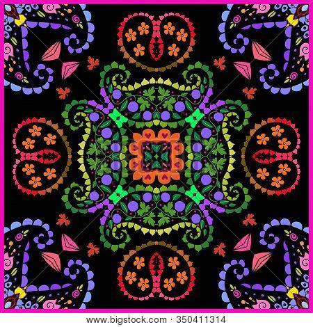 Colorful Floral Ornament On Black Background. Beautiful Square Pattern For Ceramic Tile. Bandana Pri