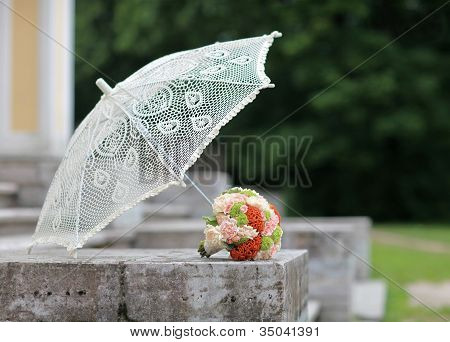 parasol and a bouquet