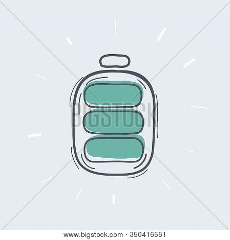 Battery Icon Full Level Indicator On White
