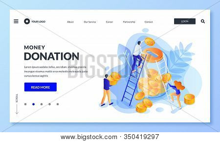 Money Donation Concept. Vector 3d Isometric Illustration. People Putting Money To Glass Bank. Econom