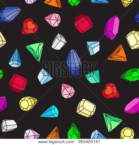 Gems. Seamless Vector Pattern Of Bright Multi-colored Gems And Crystals On A Black Background. Carto