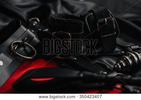 Fetish Whip Hand Cuffs For Fetish Bdsm Games Dark Background