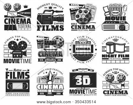 Cinema And Movie Theater Vector Icons. Film Reel, Popcorn And 3d Glasses, Tv Set, Camera And Cinema