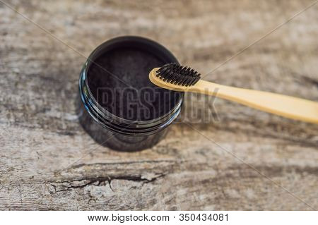 Activated Charcoal Powder For Brushing And Whitening Teeth. Bamboo Eco Brush