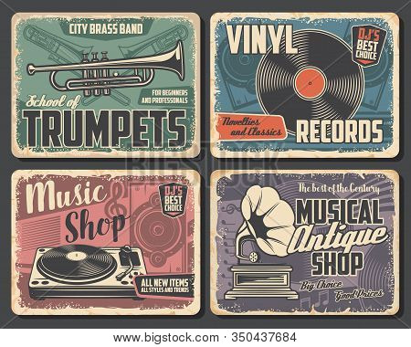 Trumpet And Trombone Vector Brass Music Instruments, Vinyl Records And Players, Musical Notes, Louds