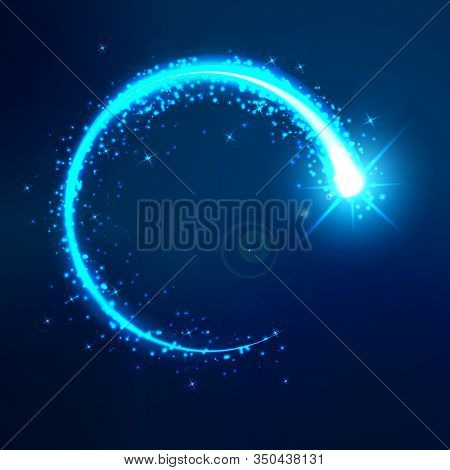 A Bright Flash In A Circle On A Dark Blue Background. Round Bright Blue Neon Effect. The Whirlwind O