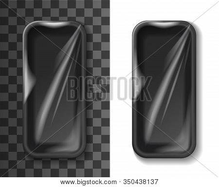 Styrofoam Tray Or Box 3d Vector Template Of Plastic Food Container. Black Foam Package And Empty Pac