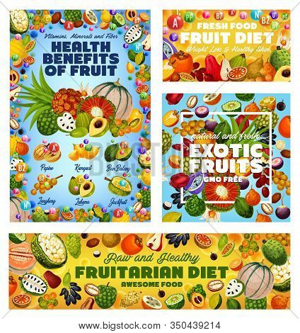 Exotic Fruit Vitamins, Health Benefits Of Fruitarian Diet And Gmo Free Tropical Berries Vector Desig