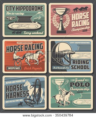 Equestrian Sport Vector Design With Horses And Jockeys At Hippodrome. Horse Racing Trophy Cups, Race