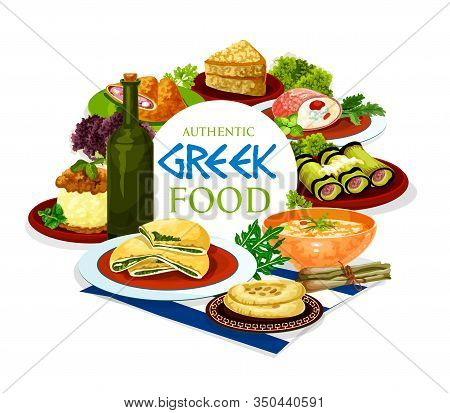 Greek Food Of Meat, Vegetable And Dessert Dishes Vector Design. Wine And Bread, Served With Beef And