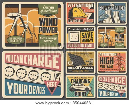 Electrician Works, Eco Energy, Power Plant And Electricity Supply Vector Posters. Solar Panel, Wind
