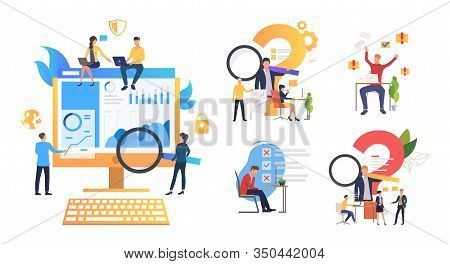 Consulting And Support Set. Consultant Answer Questions, Managers Making Mistakes. Flat Vector Illus