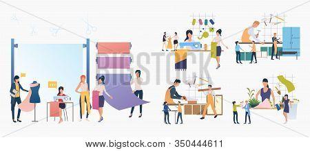 Handicraft Industry Set. Tailor, Carpenter, Florist At Work. Flat Vector Illustrations. Occupation,