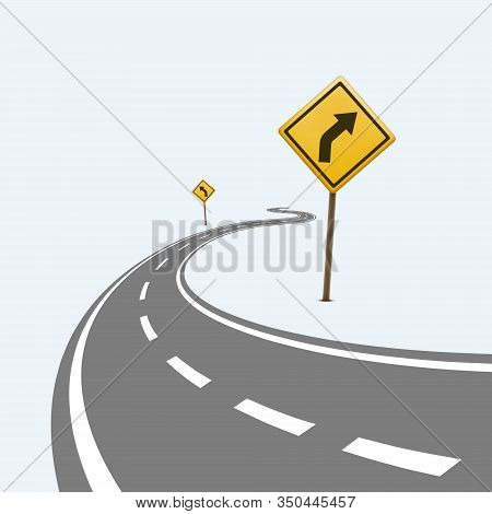Curved Winding Road With A Dangerous Turn Road Sign. Isolated On A White Background. Vector Illustra