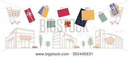 Shopping Bags Cart And Malls Design Set. Flat And Linear Images For Season Sales, Shopping Malls, Ma