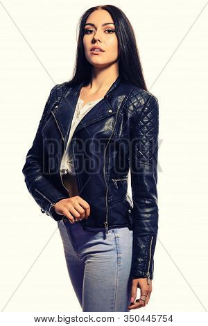 Beautiful Slim Young Woman With Long Black Hair Standing In A Black Leather Black Leather Jackets An