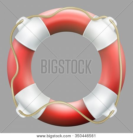 Red Life Buoy With Rope. Isolated On Neutrally Grey Background. Rescue Circle For Quick Help. Eps 10