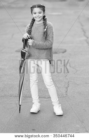 Ready For Any Weather. Girl Child Long Hair Ready Meet Fall Weather With Folded Umbrella. Fall Seaso