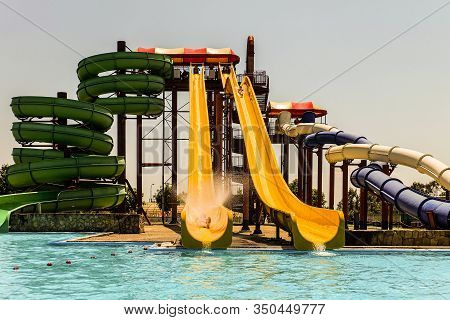 Krasnodar Region, Golubitskaya, Russia - July 6, 2019: High Water Slides In The Outdoors Seasonal Wa