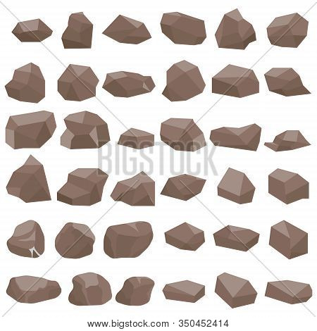 Stones, A Large Set Of Brown Stones Isolated On A White Background. Vector, Cartoon Illustration Of