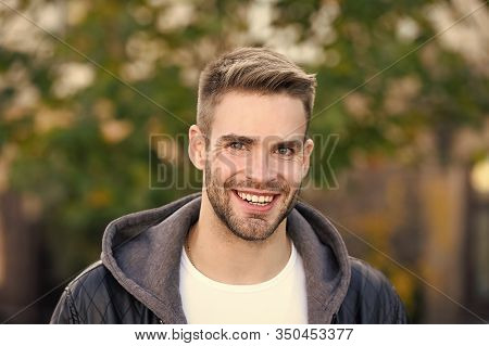 This Is What Man Wants To Look Like. Happy Man On Autumn Day. Handsome Man Smile In Casual Style. Ca