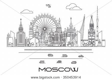 Vector Line Art Illustration Of Landmarks Of Moscow, Russia. Moscow City Skyline Monochrome Vector I