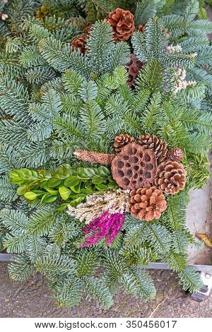 Pinecones Evergreen Branches Natural Decoration For Holidays