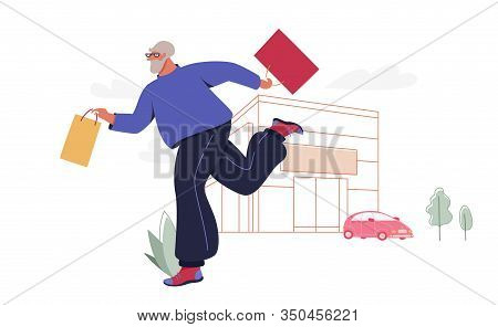 Senior Man With Shopping Bags. Modern Male Funny Character Design Over The Mall And Car Linear Illus