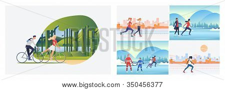 Summer And Winter Activities Set. People Roller Skating, Playing Ice Hockey. Flat Vector Illustratio