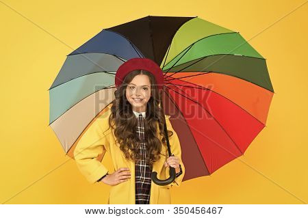 Waiting For It To Rain. Small Child Hold Open Umbrella. Rain Accessory. Little Girl In Raincoat With