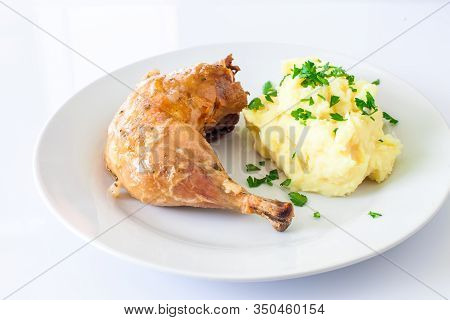 Grilled Chicken Drumstick With Sauce And Smashed Potato