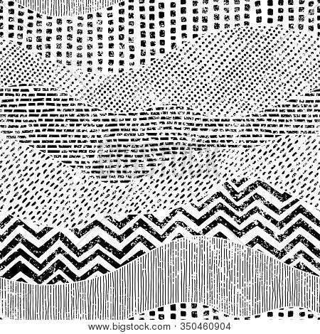 Black And White Wavy Pattern. Hand-drawn Ornament In Patchwork Style. Grunge Texture. Geometric Dood