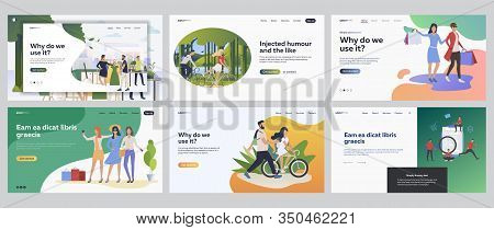Leisure And Lifestyle Set. People Shopping, Riding Bikes, Cycling Outdoors. Flat Vector Illustration