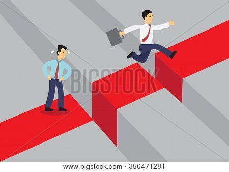 Businessman Jumping Over A Giant Gap. Another Businessman Are Afraid Of Overcoming The Problem. Vect