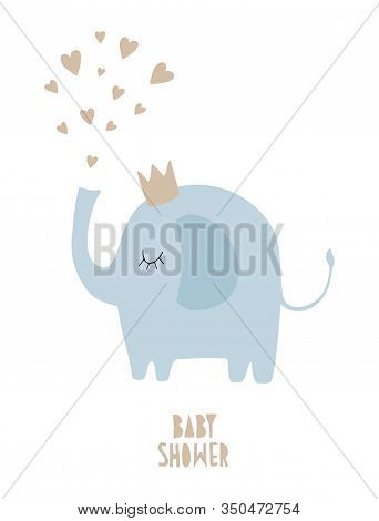 Cute Baby Shower Vector Illustration With Funny Hand Drawn Blue Elephant Isolated On A White Backgro