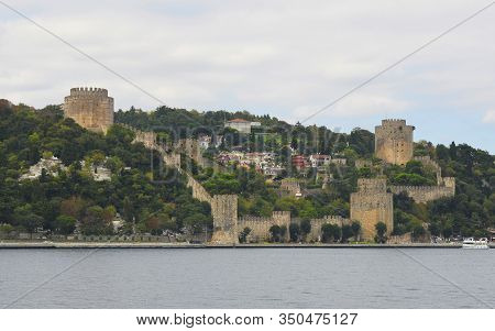 The 15th Century Rumeli Hisari Fort In The Sariyer District Of Istanbul, Turkey. The Halil Pasha Tow