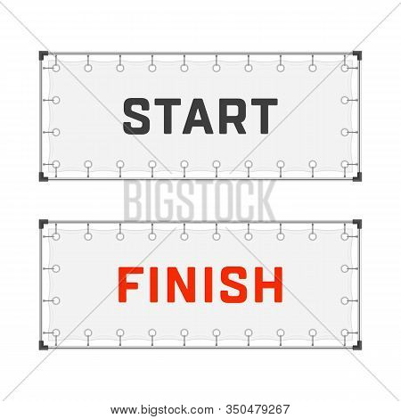 Starting And Finishing Lines Banners Isolated On White Background. Start And Finish Flags In Realist