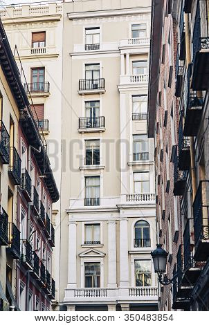 Classic Buildings In Downtown Madrid, Spain.