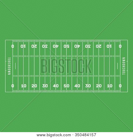 American Football Field Background. Soccer Field In Top View. Textured Grass American Football Field