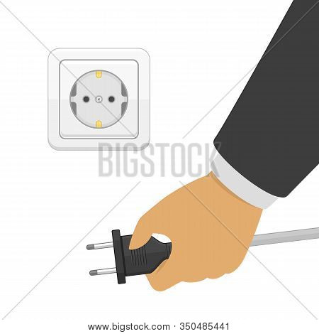 Hand Disconnecting Electric Plug. White Electric Socket And Hand With Power Plug. Energy Cable Off.