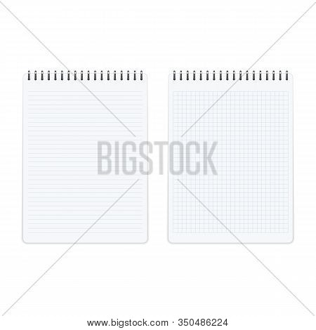Blank Sheets Of Square And Lined Paper Notebook In Realistic Style. Clean Spiral Notepad Mockup Temp