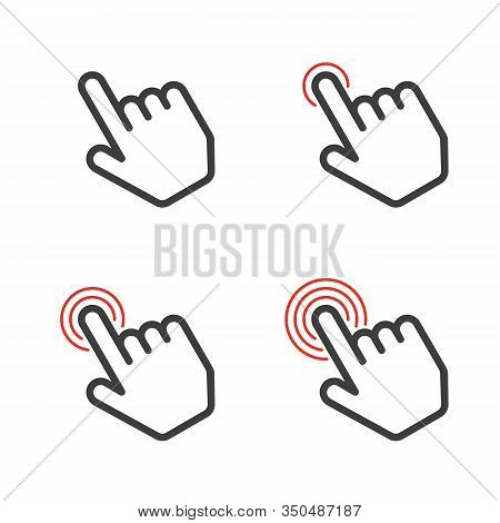 Click Here The Button. Hand Sign With Touching A Buttons Or Pointing Finger. Hands Cursor Icon. Vect