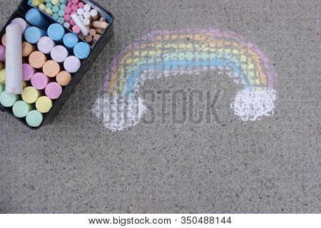 Rainbow Colored Don Sidewalk With Chalk With Copy Space